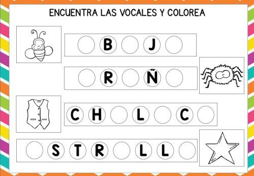 Encuentra Las Vocales Y Colorea Los Dibujos Orientacion Andujar