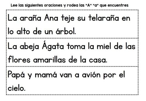 Lectoescritura Lectura De Frases Letras A B C D E
