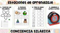 Os dejamos dos posibles estaciones de aprendizaje o estaciones de trabajo, con 4 o 6 actividades para trabajar en vuestras clases la conciencia silábica de una forma diferente y divertida.