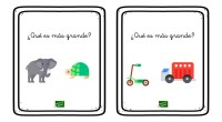 Sencillas tarjetas para trabajar las magnitudes y comparar el tamaño de objetos y animales.