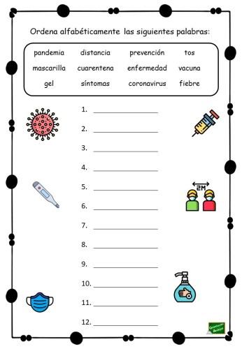 Ordena Alfabéticamente Vocabulario Coronavirus Orientacion Andujar