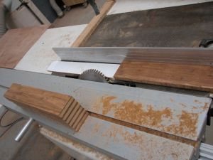 Strand Woven Bamboo coffee table - cutting the miter joints for the legs
