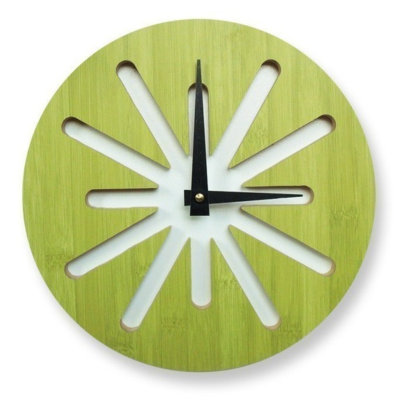 Green splat bamboo clock
