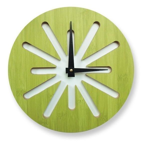 Green splat bamboo clock