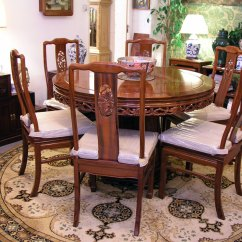Round Dining Table For 6 Chairs Benahid Outdoor Rattan Papasan Chair With Cushion Incl Bird And Flower Design