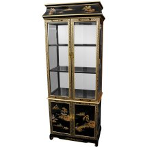 Ming Pagoda Top Curio Cabinet With Hand Painted Oriental