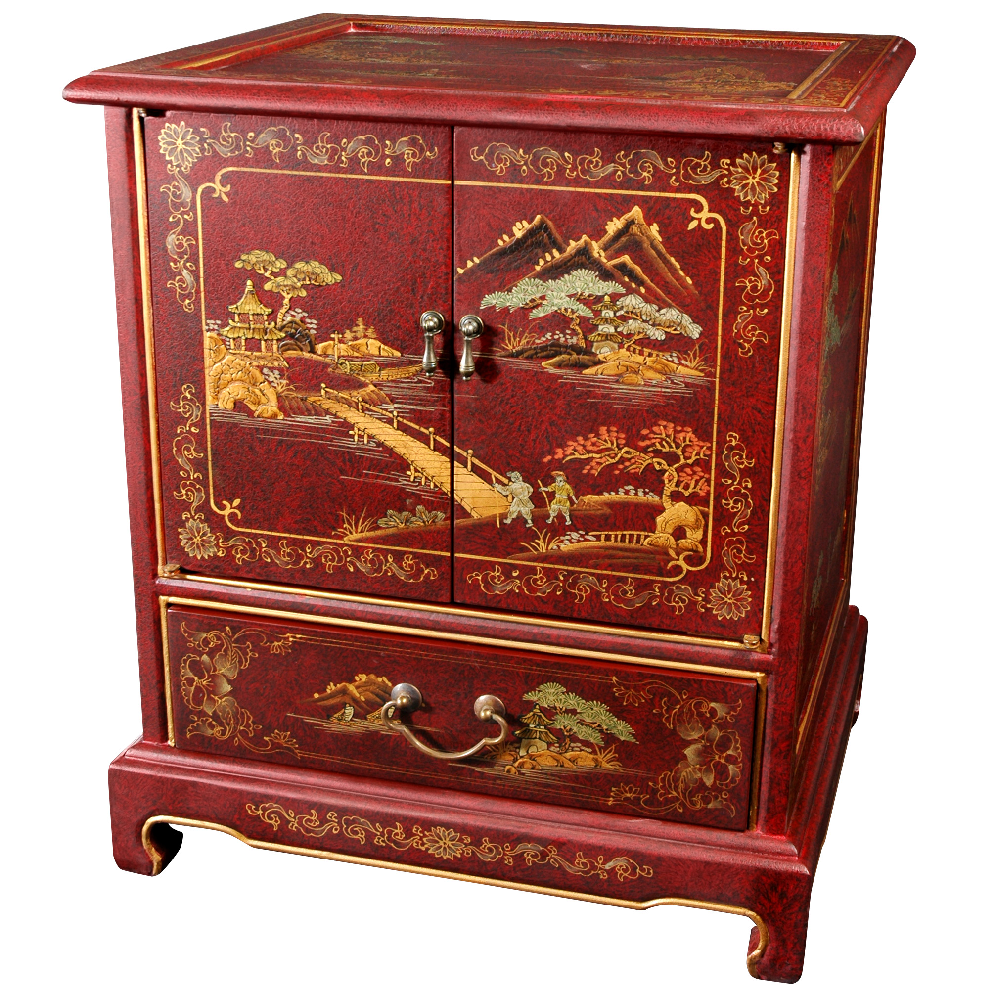 asian sofas indian l shaped sofa design hand painted japanese end table ebay