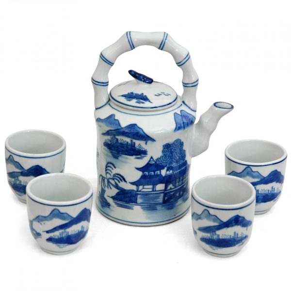 Landscape Blue & White Porcelain Tea Set