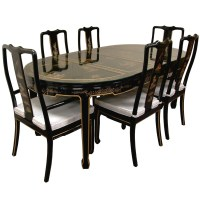 Hand Painted on Black Lacquer Dining Table W/ 6 Chairs ...