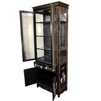 Tall Lacquer Curio Cabinet - Black Mother of Pearl Ladies ...