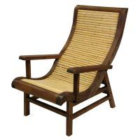 Oriental Furniture Curved Japanese Bamboo Sun Chair w ...