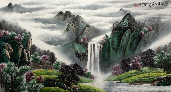 Chinese Mountain Valley Waterfall Landscape Painting