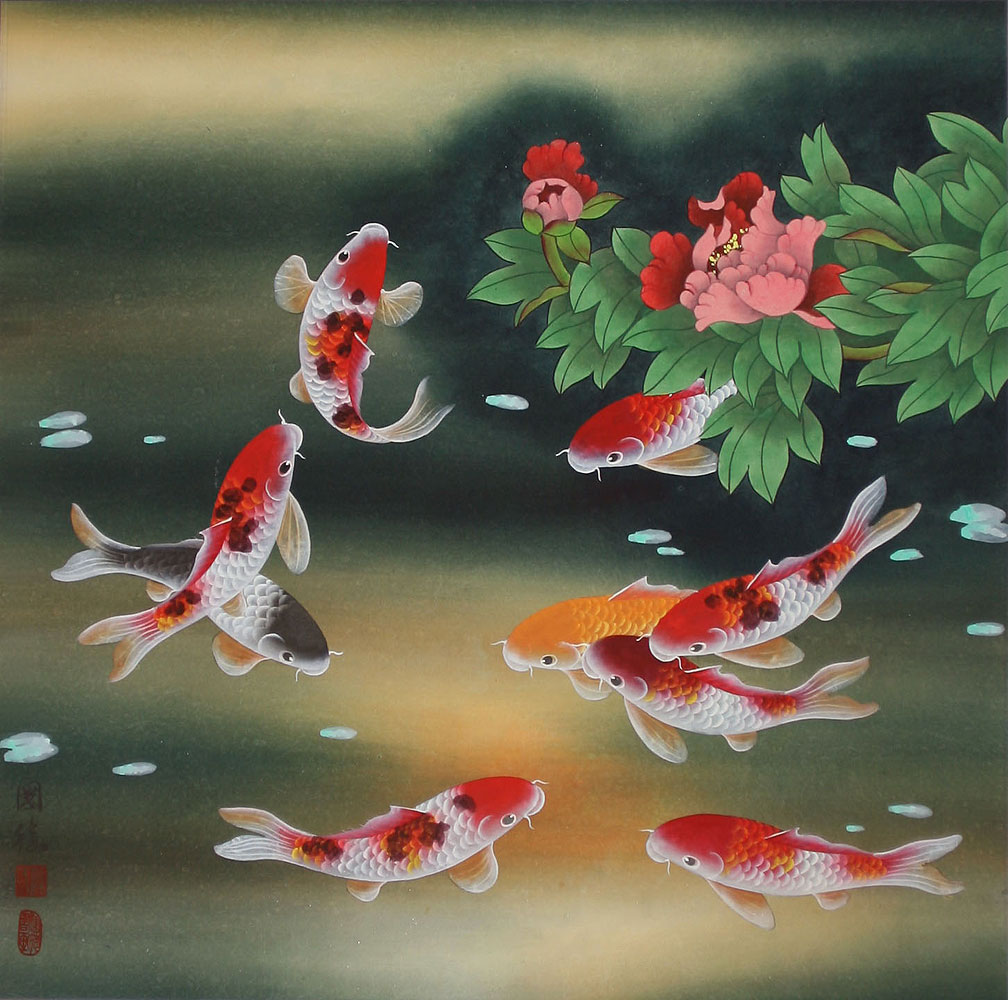 The meaning behind chinese paintings my blog my life for Japanese fish painting