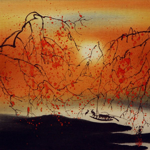 Resting Birds #2 - Colorful Asian Art Landscape Painting