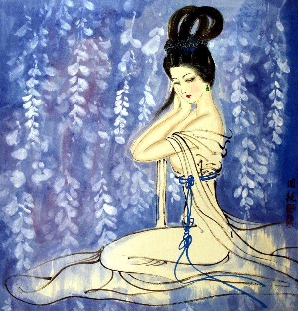 Asian Lady In Waiting Painting - Beautiful Women