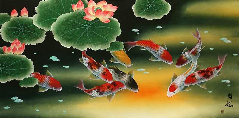 Never Fall In Love Wallpaper Huge Koi Fish And Lily Elaborate Painting Asian Koi Fish
