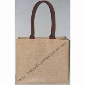 Natural Jute Bag 2116 With Long Dyed Cotton Web Shoulder Handles