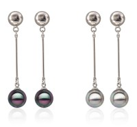 10mm Southsea Shell Pearl Earrings 18K White Gold Overlay