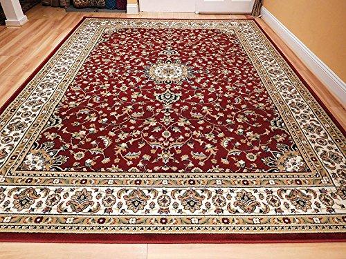 Large 5 8 Red Cream Beige Black Isfahan Area Rug Oriental Carpet 6