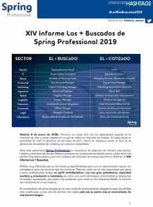 XIV Informe Los + Buscados de Spring Professional 2019. Grupo Adecco