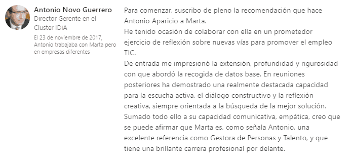 Recomendación Antonio Novo