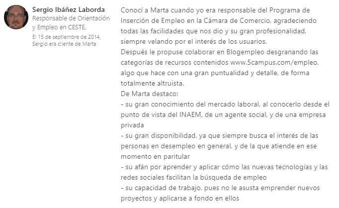 Recomendación Sergio Ibañez