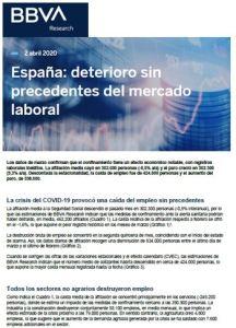 Informe España Deterioro sin precedentes del mercado laboral BBVA Research 2020