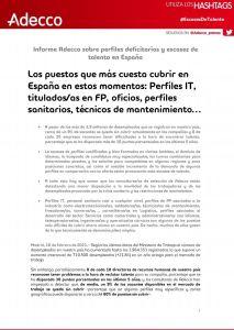 Informe Adecco sobre perfiles deficitarios y escasez de talento en España 2021