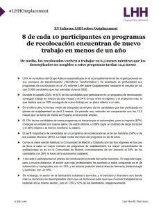 XV Informe LHH sobre Outplacement 2021