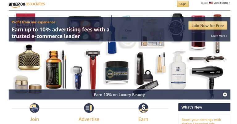 Amazon Affiliate sign up page