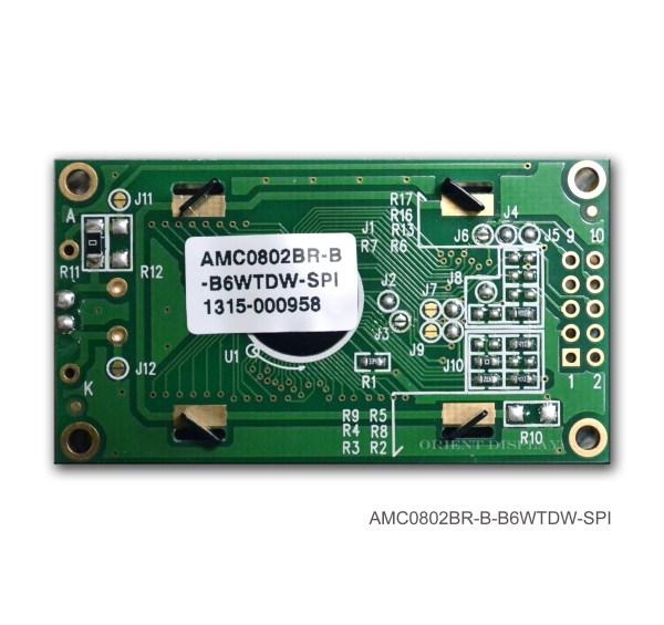 AMC0802BR-B-B6WTDW-SPI (8x2 Character LCD Module - SPI Interface)