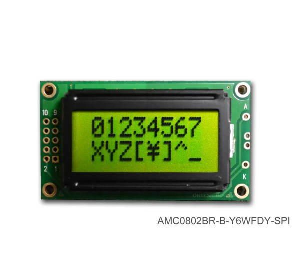 AMC0802BR-B-Y6WFDY-SPI (8x2 Character LCD Module - SPI Interface)