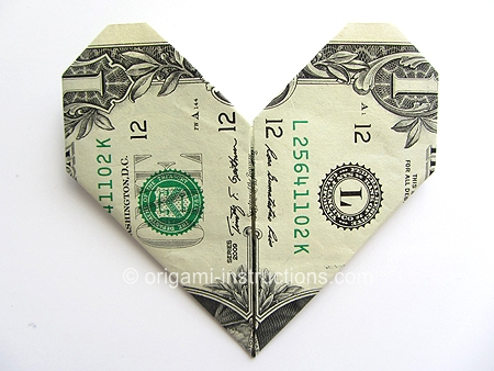 Easy Money Origami Heart Folding Instructions How To