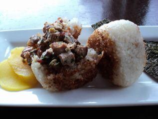 Yaki-onigiri (Grilled rice ball) - Grilled rice ball stuffed with pan fried duck