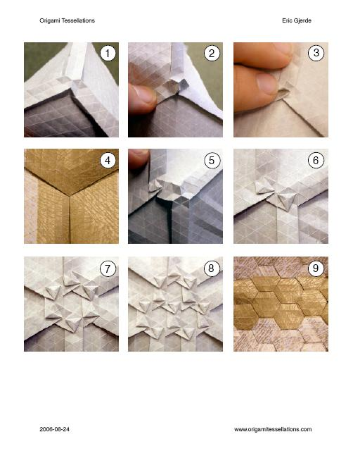 Double Pleat Hexagon Tessellation Instructions, available for download