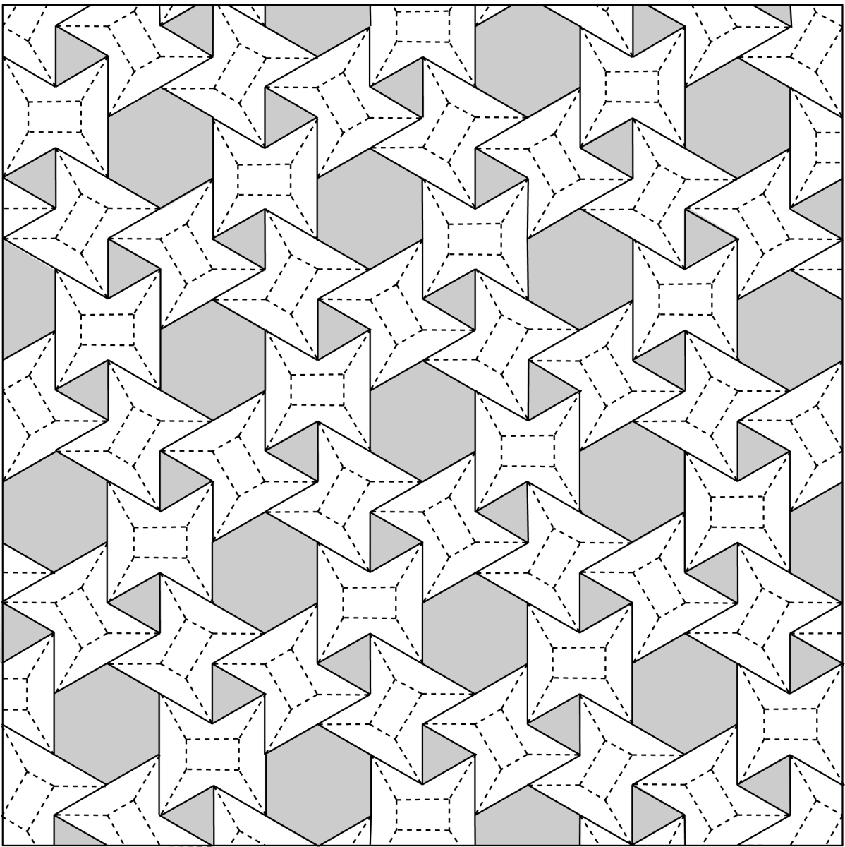 3.6.3.6 Waterbomb / Flagstone Tessellation, Crease Pattern