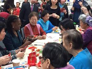 3.2.15 Origami Lesson with First Lady McCray, Senior Center, Chinatown, NYC