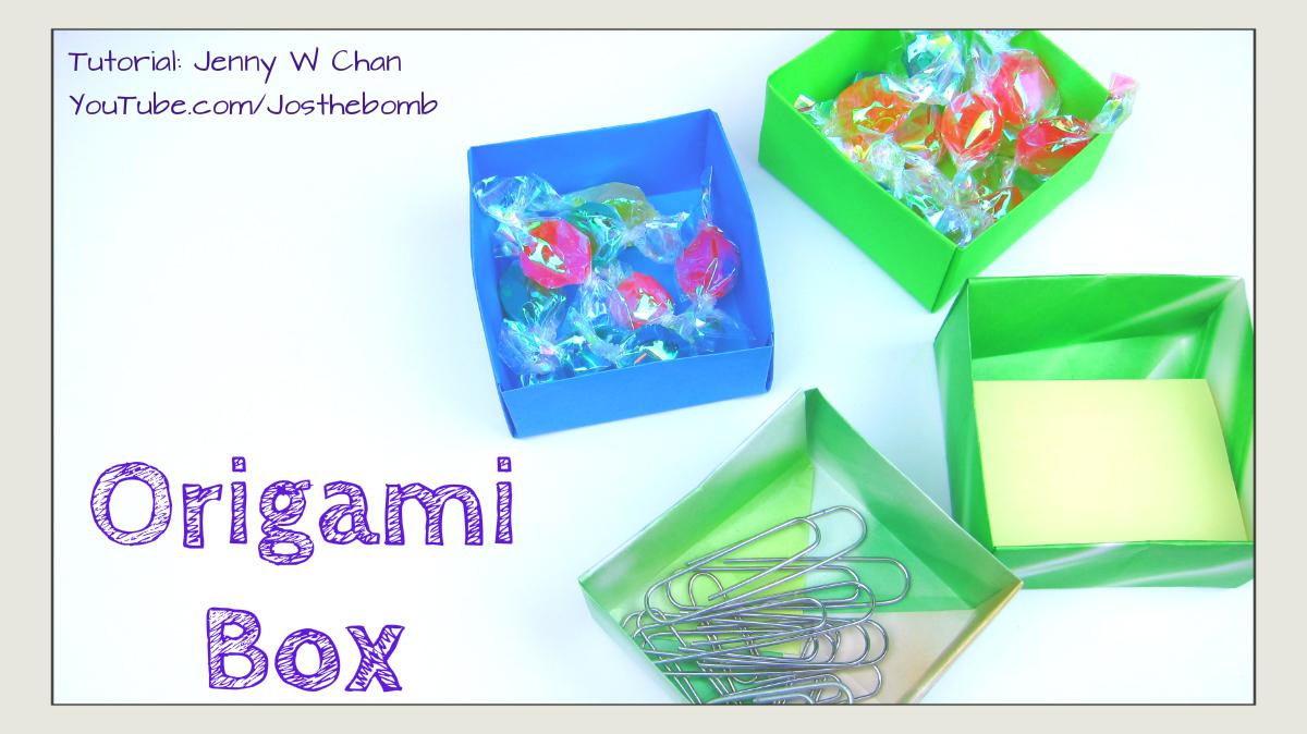 Origami Candy Box + Lid - Paper Kawaii - YouTube | 674x1200