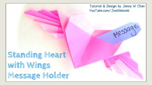 origami heart with wings message holder tutorial origamitree.com