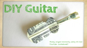 origami guitar with one dollar - origamitree.com