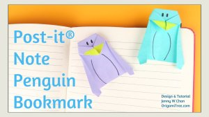 origami post it note penguin origami tutorial