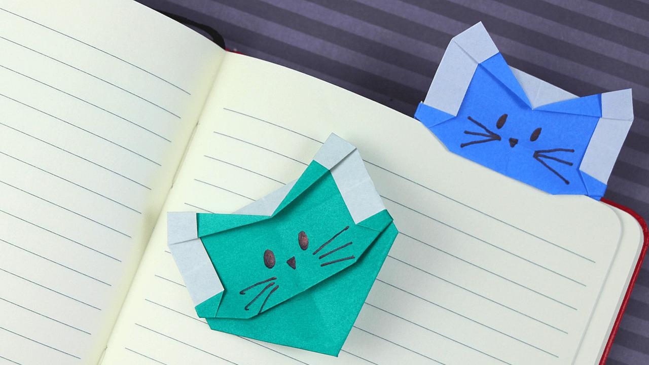 Origami Cat Heart Bookmark OrigamiTree