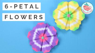 six petal origami flowers, Jenny W Chan, Origami Tree