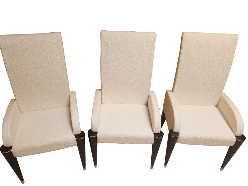white fabric dining chairs gray and chair with black fluted legs original antique