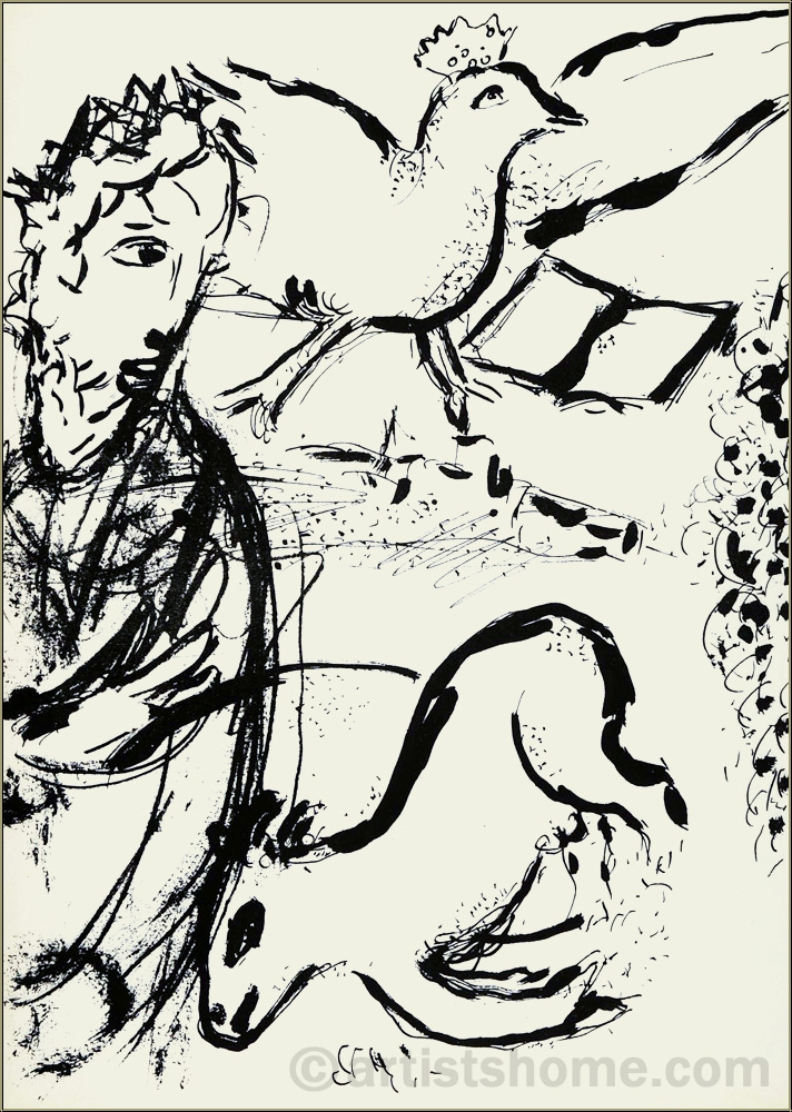 Marc Chagall: David and his Harp, 1956, Original