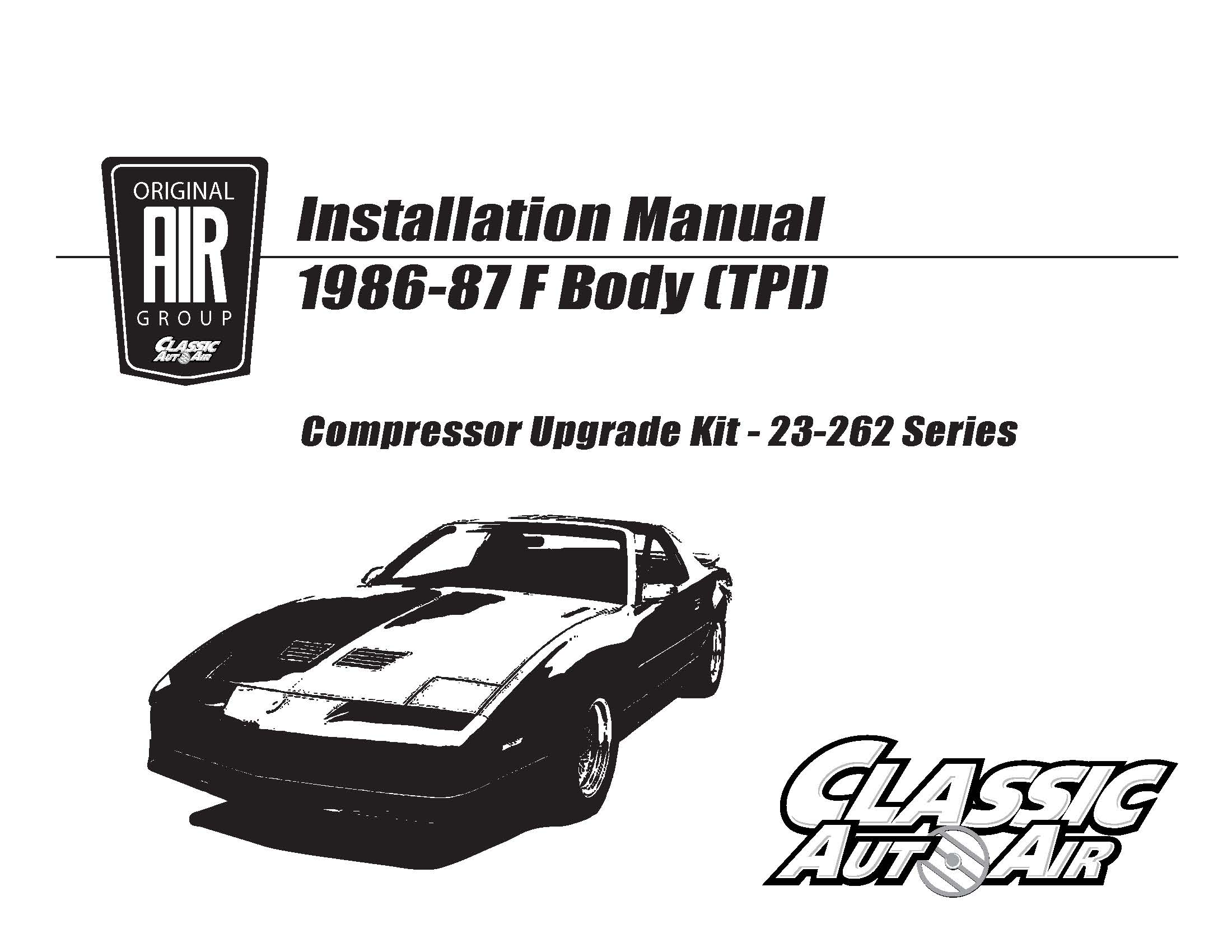 86-87 Camaro/Firebird A/C Compressor Performance Upgrade