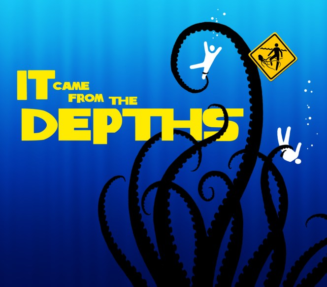 It Came From The Depths cover depicting a squid attacking swimmers in the sea, in the style of fifties/sixties movie credit titles