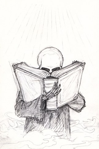 A small, skull-headed, robed figure, with its face buried in a large dusty-looking book
