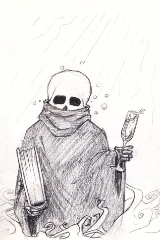A small, skull-headed, robed figure looking a bit tipsy, holding a book in one hand and a glass of champagne in the other