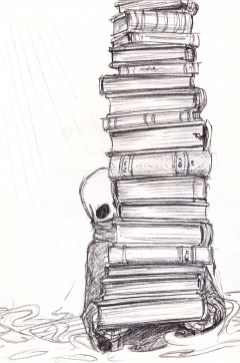 A small skull-headed, robed figure dwarfed by the enormous stack of books it is carrying